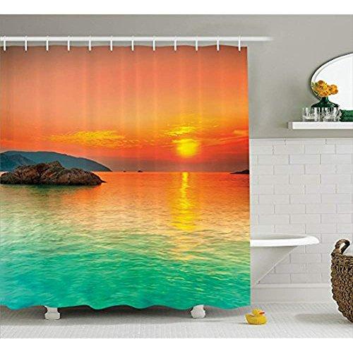 Yeuss Nature Duschvorhang, Sonnenuntergang über dem Meer Con Dao Vietnam Sunbeams bunten Himmel Reflexion über Wasser, Stoff Badezimmer Dekor Set mit Haken, Orange Mintgrün (Wasser Sunbeam)