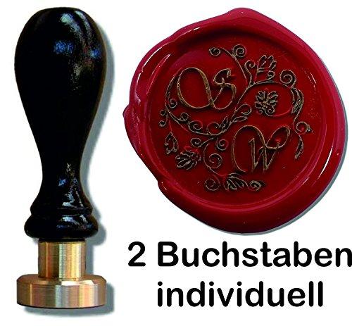 Siegel Stempel Petschaft in der Schriftart Vivaldi-Illu | 24 mm | 2 Initialen | 8,2 cm | Eine tolle Geschenkidee um etwas persönliches zu schenken