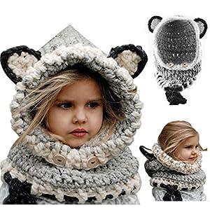 Cappello del Fumetto di Stile,Bonice Fox Scialle Bella Bambino Maglia di Lana di Inverno Cappa con Cappuccio FOX Cappelli Cappello Autunno e Inverno Sciarpa a Maglia Protezione Del Bambino con un Cappello Inverno Bambino Cappelli di Maglia Sciarpa Ricopre