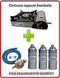 Altigasi Tischkocher, mit E-Zündung, 2.200 Watt, doppelte Versorgung (Gaskartusche oder Gasflasche), 3 Gaskartuschen + Anschluss-Set inklusive