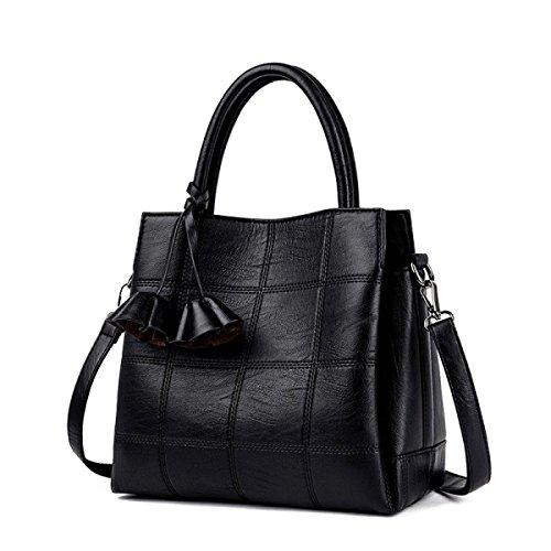 Sacchetto Di Tote Bag Di Grande Capacità Delle Donne Sacchetto Di Cuoio Molle Semplice Della Borsa Del Messaggero Di Modo Retro Handbags Black