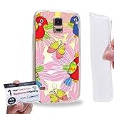 Case88 [Samsung Galaxy S5] Gel TPU Hülle / Schutzhülle & Garantiekarte - Cute Birds pattern cartoon theme DSE0362