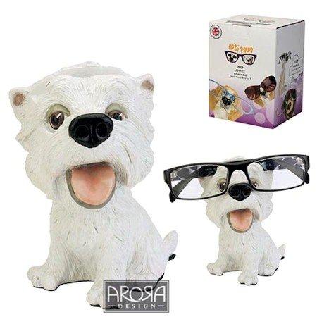 Brillenhalter - Brillennase - Brillenablage aus Polyresin im Hunde und Katzen Design (Motiv Westi) (Hund Katze Ornamente)
