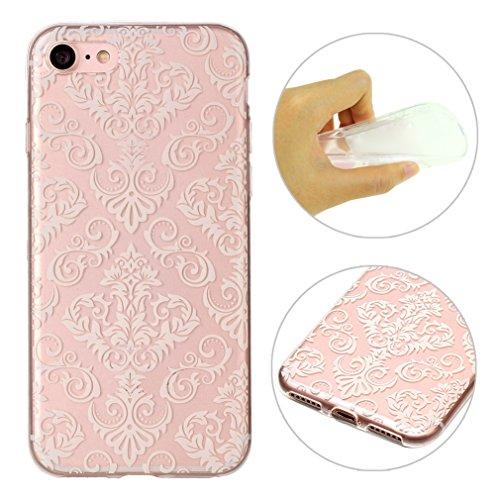 "Coque iPhone 7 Apple ,iPhone 7 Silicone Case Rosa Schleife® Ultra Mince Souple TPU Silicone Gel housse de protection Etui antichoc Etui pour Apple iPhone 7 (4.7"") -Mandala Brun Blanc Mandala"