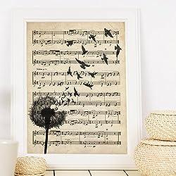Lámina diente de león sobre partitura. Poster con imágenes de la naturaleza. Lámina botánica. Lámina para enmarcar sobre partitura. Decoración de hogar. Láminas para enmarcar. Papel 250 gramos alta calidad