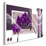Feeby, Leinwandbild, Bilder, Wand Bild, Wandbilder, Kunstdruck 50x70cm, MODERN, GLAMOUR, ORCHIDEE, RECHTECKE, VIOLETT, WEIß