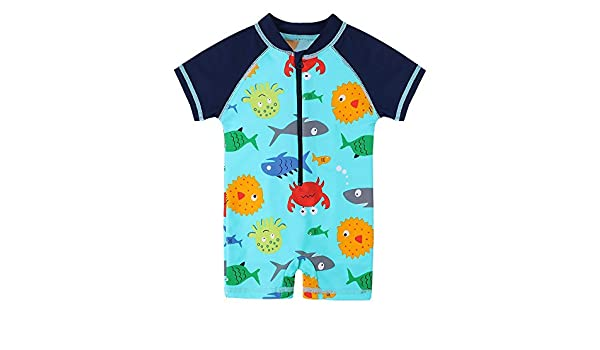 HUANQIUE Baby Toddler Boys Swimsuit Rash Guard Sunsuit UPF 50 Sealife 0-6 Month
