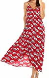 LILBETTER Lady V-neck Polka Dot Pocket Long Maxi Dress Boho Casual Cocktail Beachwear(8,10,12,14,16,18) (UK 18 /XL, Red Flower)