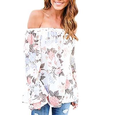 LILICAT Mode Frauen Aus Schulter Langarmshirt Coton Shirt Blumen gedruckt Casual Bluse Damen Oberteile One-Shoulder Chic Top Vintage Hemd