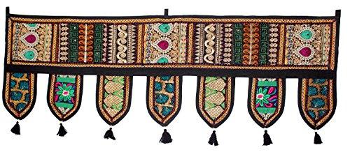 GESCHENKE Mango Ethnic Indian Home Decorative Patchwork & Stickerei Work Überwurf Door Hanging Wandteppich, 99,1x 33cm Schwarz