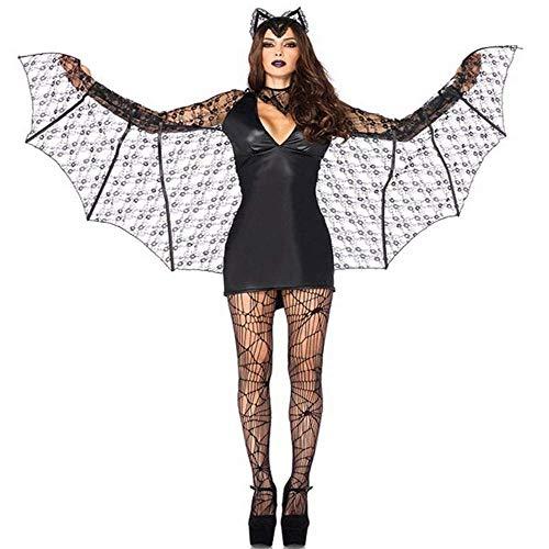 Fashion-Cos1 Sexy Spitze Nähen Kleid Bar Party Uniform Spiel Kostüm Für Frauen Halloween Karneval Hexe Teufel Geist Braut Kostüm Fledermaus Ärmel