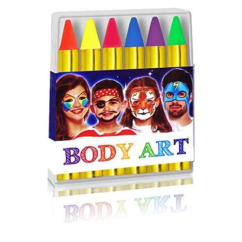 - 6 x Schminkstifte - Neon ┃ Kindergeburtstag ┃ Körpermalfarben - Kinder ┃ Fasching - Halloween - Kinderschminken ┃ 1 Packung ()