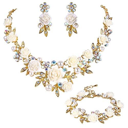 Ever Faith Kristall kuenstliche Perle Rose Blume Blatt Halskette Ohrringe Armband Set Weiß Gold-Ton