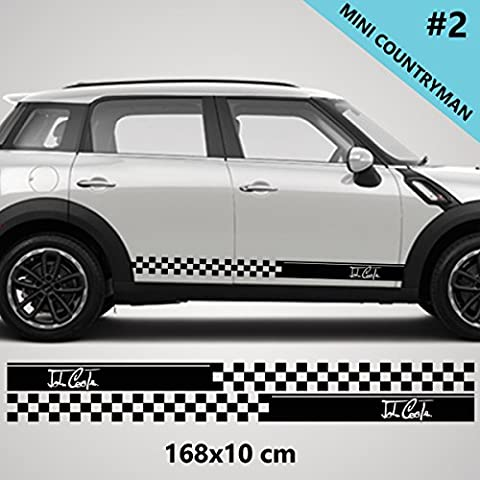 Mini Cooper S Countryman Side Racing Stripe Stickers Decal Tuning car
