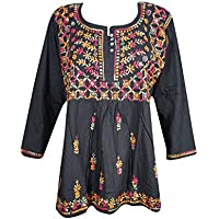 Mogul Interior Womans Peasant Tunic Black Multi Embroidered Boho Top Blouse Shirt Medium
