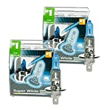 ECD Germany 4 Stück Halogen Scheinwerferlampe H1-8500K 12V 55W - Xenon Optik Xtreme White - mit E4 Zulassung - Glühbirne Birne Glühlampe Autolampe Lampe