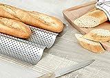 GOURMEO-Baguette-Backblech-Baguetteform-Baguetteblech-385-x-28-cm-fr-3-Baguettes-mit-Antihaftbeschichtung-in-Silbergrau-mit-2-Jahren-Zufriedenheitsgarantie
