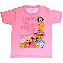 Tsum Tsum Stacks On Glitter Lettering Youth Girls camiseta rosa, peque?a (6/7)
