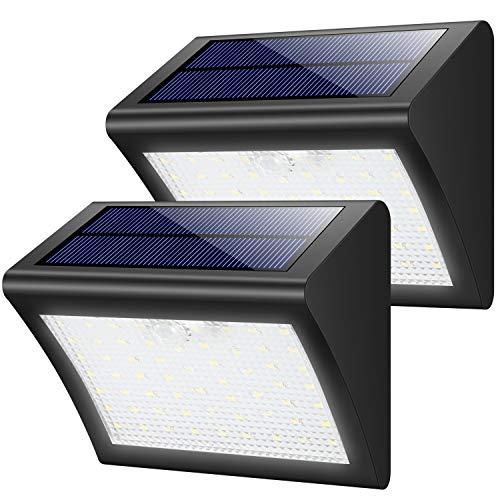 Yacikos Solarleuchten Außen 60 LED Solarlampe mit Bewegungsmelder Solar Wandleuchte Solarlicht Wasserdichte Solar Beleuchtung 3 Modi Solarbetriebene Kabelloses Sicherheitslicht für Gärten(2 Stück ) - Sagen, Wie Zu Hallo