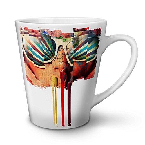 Wellcoda Gesicht Sonnenbrille Jahrgang Latte BecherPost Kaffeetasse - Komfortabler Griff, Zweiseitiger Druck, robuste Keramik