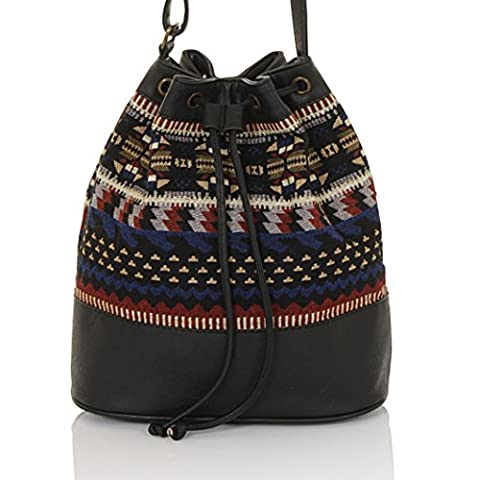 Boutique, Ladies Vintage Long Strap Bohemian Shoulder Bucket Bag, Black Leather