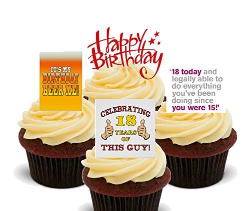 zum 18. Geburtstag–aus Esspapier, Cupcake-Dekoration, 24er-Pack (18 Geburtstag Cupcake Dekorationen)