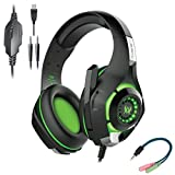 Cosmic Byte Kotion Each GS420 Headphones with Mic, RGB LED lights, Audio Splitter for PS4, Xbox One, Laptop, PC, iPhone and Android Phones (Black/Green)