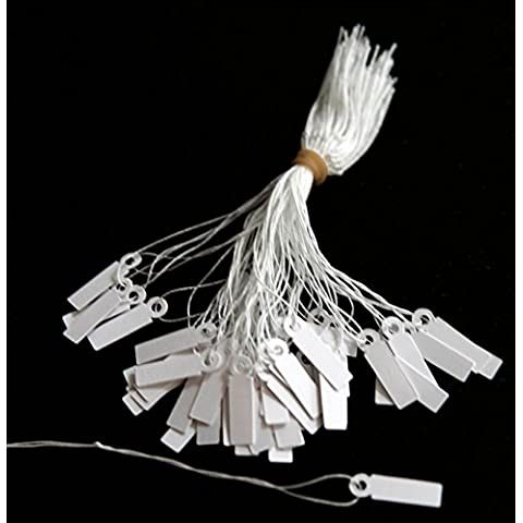 Blanco con cuerdas etiquetas 21 mm x 6 mm x 500 etiquetas/Entradas Ideal para joyas (para identificar documentos, Precio y etiquetado)