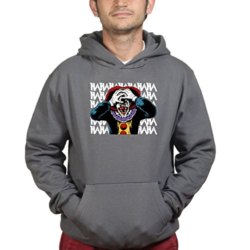 Mens Laughing Clown Scary Halloween Hoodie M Charcoal Grey