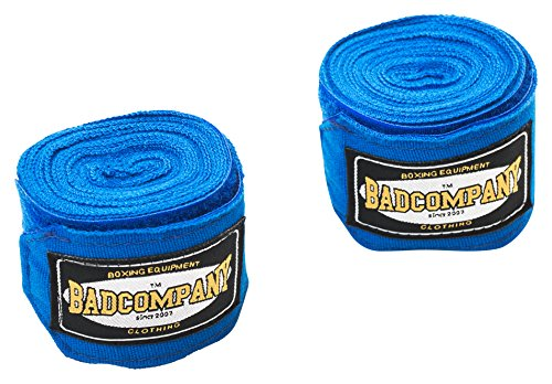 Profi Boxbandagen 2,50m lang / 2er Set (1 Paar) inkl. Gebrauchsanleitung (Wickeltechnik), Blau