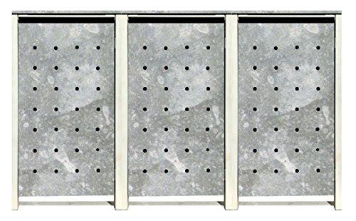 BBT@ | Hochwertige Mülltonnenbox für 3 Tonnen je 240 Liter mit Klappdeckel in Zink / Aus stabilem pulver-beschichtetem Metall / Ohne Stanzung / In verschiedenen Farben sowie mit unterschiedlichen Blech-Stanzungen erhältlich / Mülltonnenverkleidung Müllboxen Müllcontainer