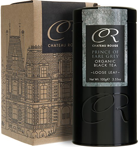 Chateau Rouge - Prince Earl Grey, Tè Nero Biologica di Sfusa Foglia Intera, 100g