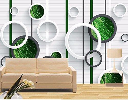 Yosot Große Wandmalereien Phantom Grünes Blatt Mit Wassertropfen Kreis 3D Tapeten Wohnzimmer Fernseher Sofa Wand Schlafzimmer Moderne Tapete-350Cmx245Cm