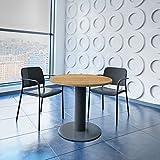 WeberBÜRO Optima runder Besprechungstisch Ø 80 cm Bernstein-Eiche Anthrazites Gestell Tisch Esstisch