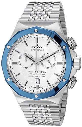 Edox Homme 101083BU AIN Delfin Affichage analogique Swiss Quartz Argent montre