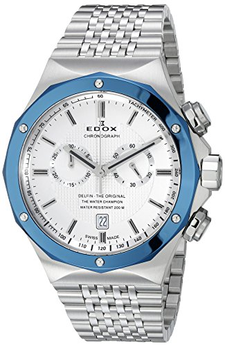EDOX hombre 101083BU Ain Delfin Analógica Swiss plateado de cuarzo reloj