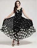 LYQ/ De las mujeres Tallas Grandes Vestido Casual A Lunares Maxi Raso , black-xl , black-xl