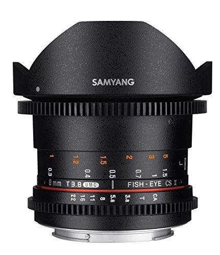 Samyang F1322403101 - Objetivo para vídeo VDSLR para Nikon F (Distancia Focal Fija 8mm, Apertura T3.8-22 UMC, Ojo de pez, CSII), Negro
