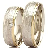Eheringe 925/- Silber 585/- Apricotgold F-30127-060 - DUO Silber Gold 3