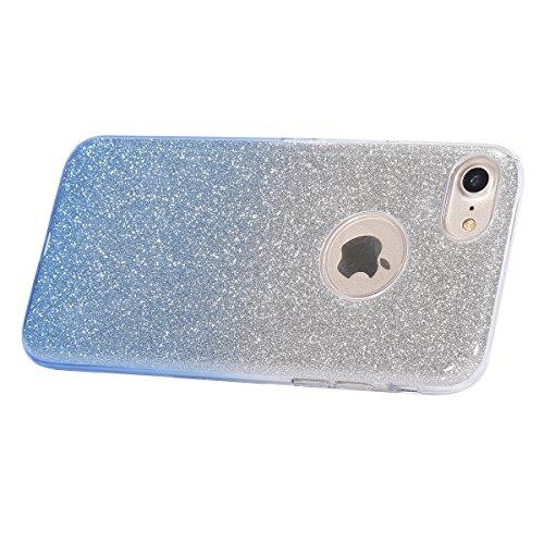 """Etsue Glitzer Diamond Schutzhülle für iPhone 7 4.7"""" 2016 Hard PC Case, Luxus Bling Strass Glitzer Hülle Elegant Diamant Hart Plastik Kratzfeste Schutzhülle Glänzend Handy Hülle Case Tasche Etui Bumper Gradient,Blau"""