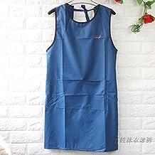 TY&WJ Floreria Impermeable Delantal,Cocina cocina Barbacoa Y parrilla Pinafore Coffee shop Aceite Ropa de trabajo Profesional babero delantales-Azul