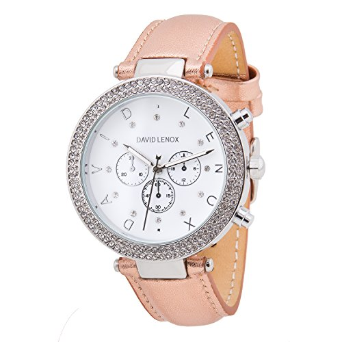 David Lenox Silber Tone Damen-Armbanduhr mit Rose Gold Lederband Stil dl0237