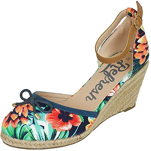 Refresh Women Ballerinas Flat Pumps Flower, Größe:37;Farbe:navy