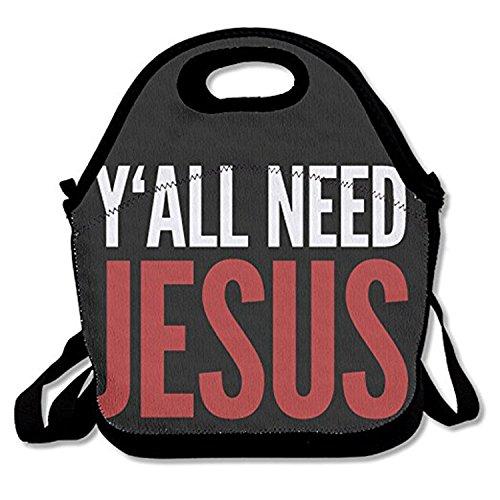 ZMvise Y'all Need Jesus Christian les sacs réutilisables pique - nique déjeuner tote isolés boîtes hommes femmes enfants toddler infirmières sac de voyage