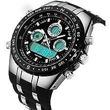 Relojes para hombre Binzi, sumergibles, reloj de pulsera militar, deportivo, digital, luz LED de lujo, pantalla dual con pulsera de silicona negra