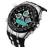 BINZI Herren Sport-Uhren Wasserdichte Militär Analog-Digital Quarz mit Kalender Silikon Armband