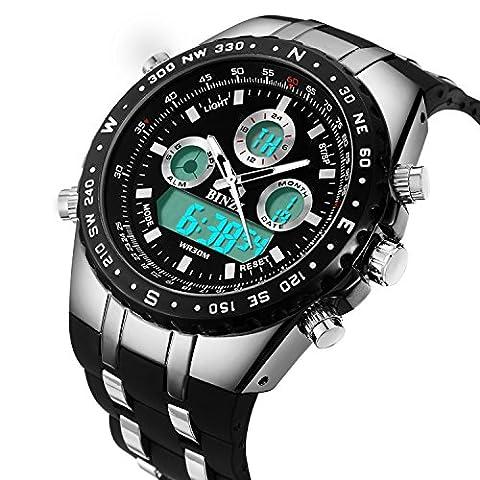 BINZI Herren uhren Wasserdichte Militär Armbanduhr Sport-Uhren Digitaluhr Luxus-LED-Licht Dual-Display mit schwarzem Silikonband