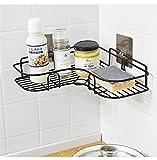 #5: Home Essentials Magic Sticker Series Self-Adhesive Metal Bathroom Corner Shower Caddy (Black Color)