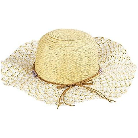 Perle di vetro rotondo grande cappello onda cappello a tesa bambino cappello couture visiera ( colore : Beige )