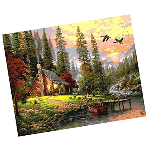 ZORBES Unframed Digital DIY Oil Painting Canvas Kit for Adults Kids Drawing Learning Class Craft - hut in The Woods, 40 * 50cm